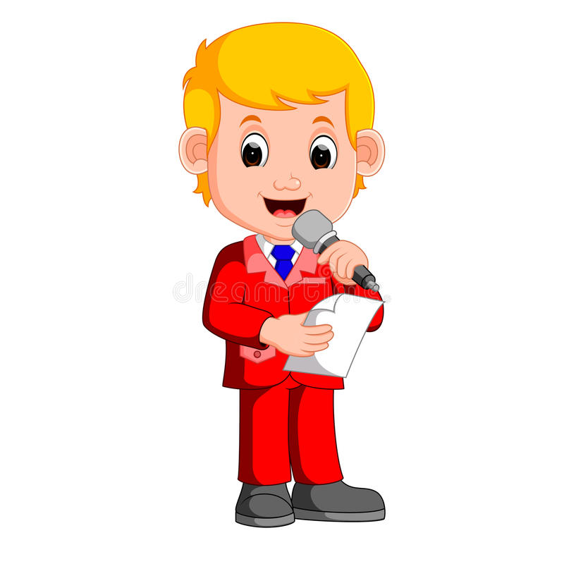 Young boy presenter. Illustration of young boy presenter stock illustration