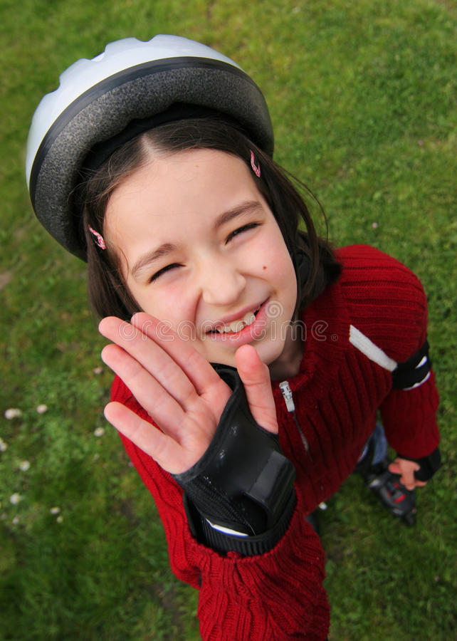 Young boy in protective helmet royalty free stock photo