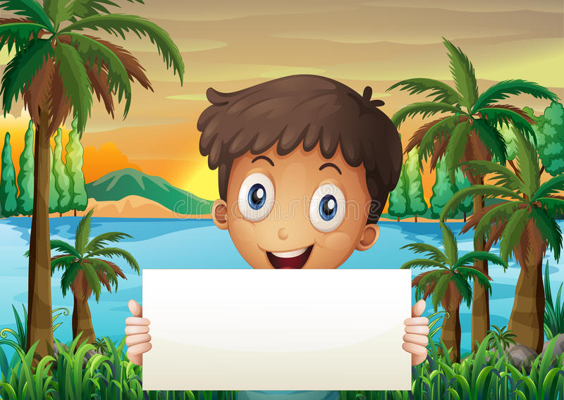 A young boy at the riverbank holding an empty signboard stock illustration