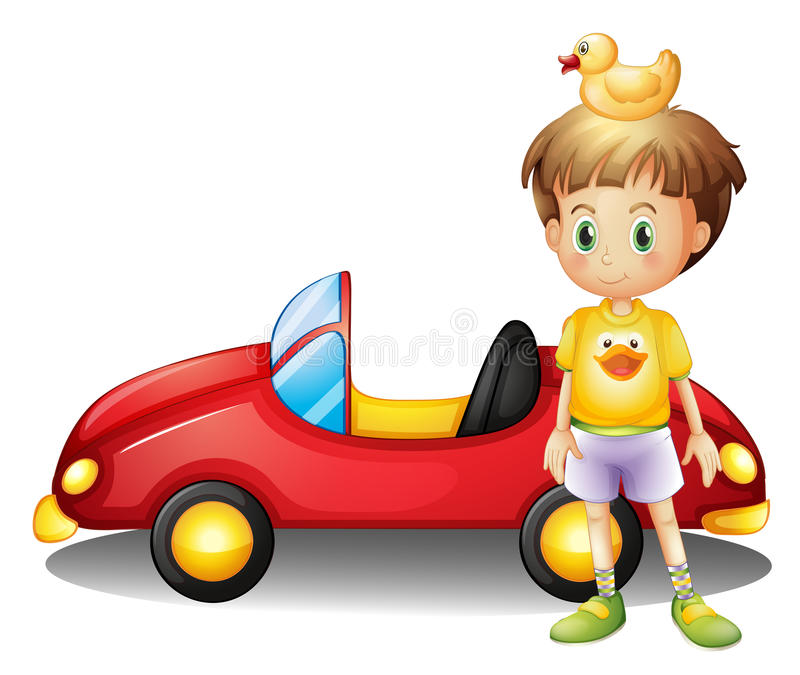 A young boy with a rubber duck and a big toy car royalty free illustration