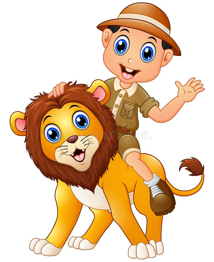 Young boy in safari suit and wild lion cartoon royalty free illustration