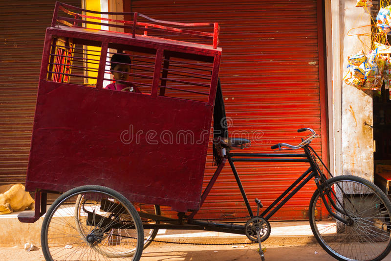 Young Boy School Transportation Cycle Rickshaw stock photos
