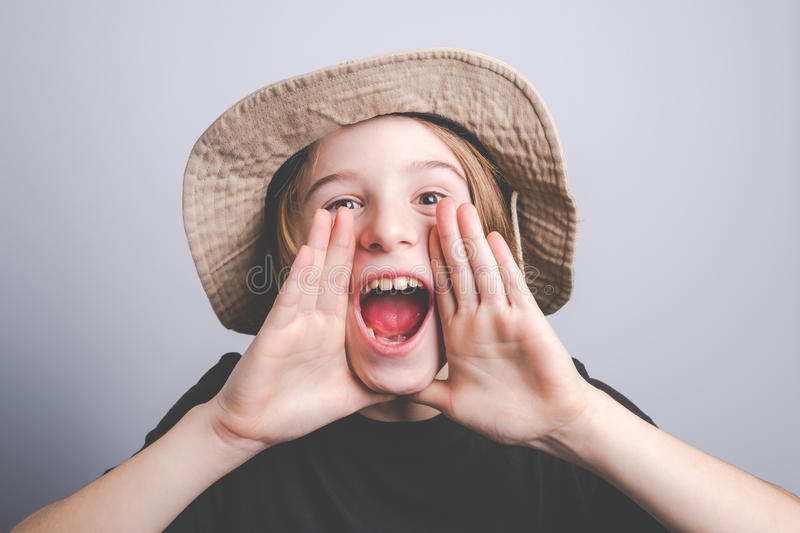 Young boy scout smiling portrai stock images