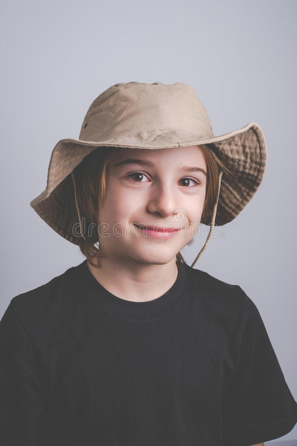 Young boy scout smiling portrai stock image