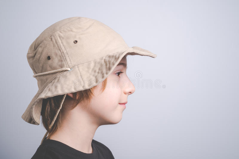 Young boy scout smiling portrai stock photos