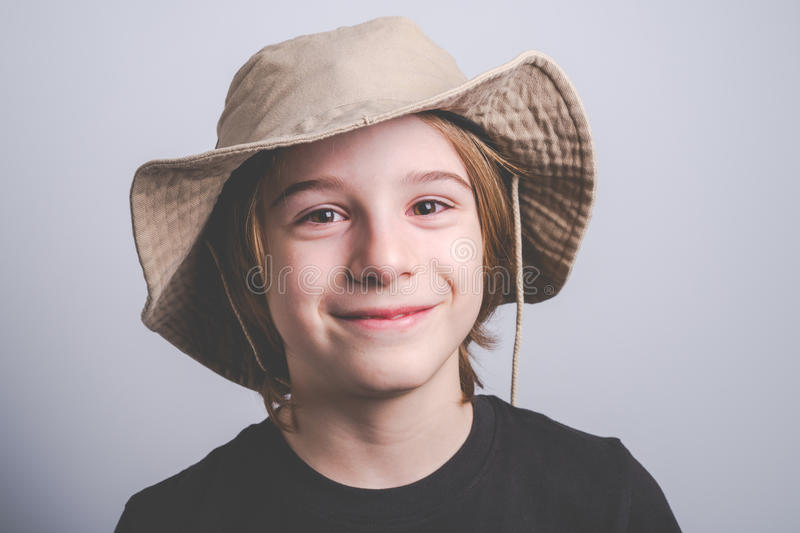 Young boy scout smiling portrai stock photo