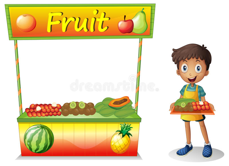 A young boy selling fruits royalty free illustration