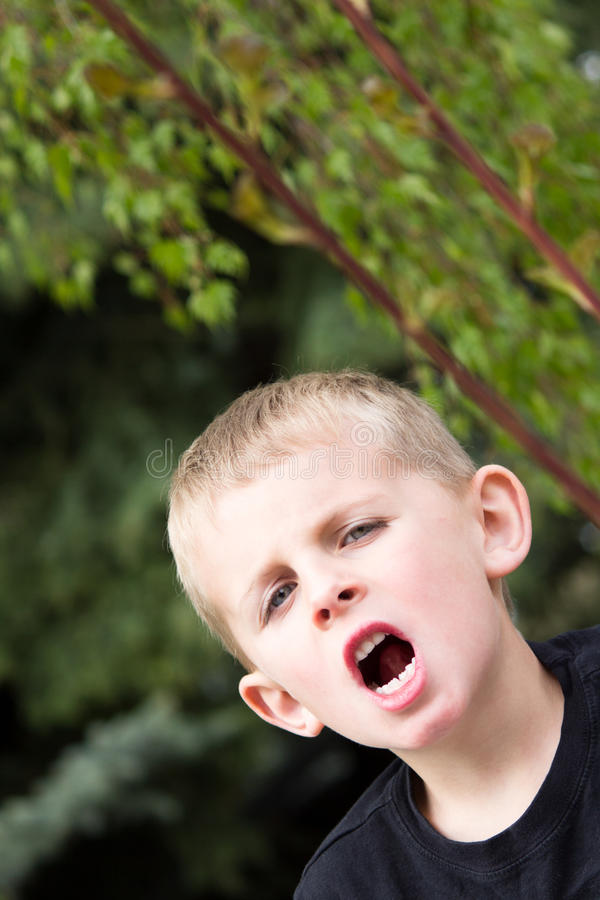 Young Boy Shouting stock photography