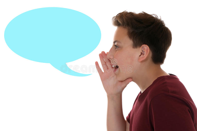 Young boy shouting with speech bubble and copyspace royalty free stock photos