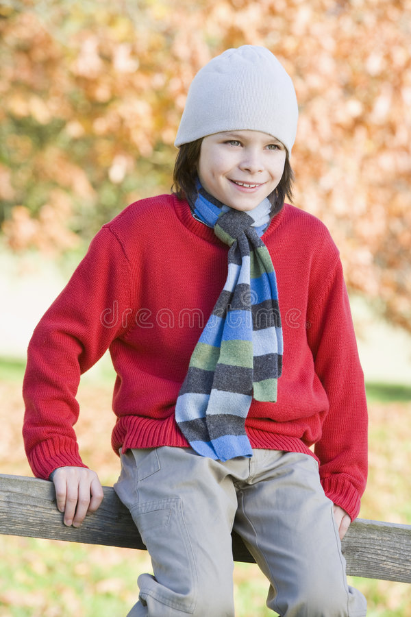 Download Young boy sitting on fence stock image. Image of warm - 5310037