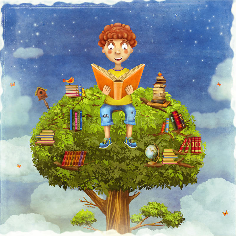 Young boy sitting on a tree and reads a book royalty free illustration