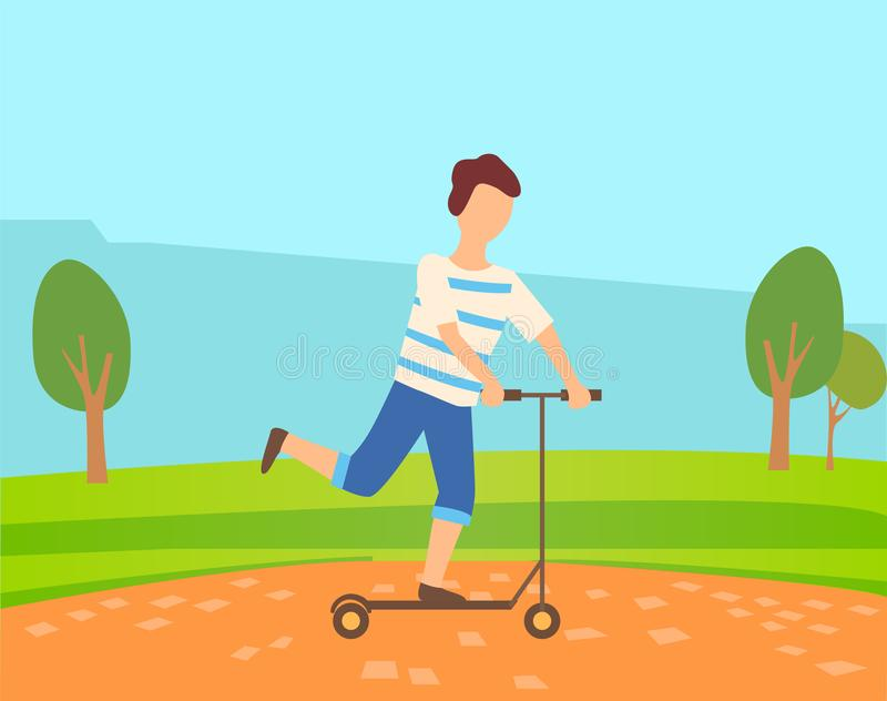 Young Boy Skates on Self Balancing Scooter in Park vector illustration