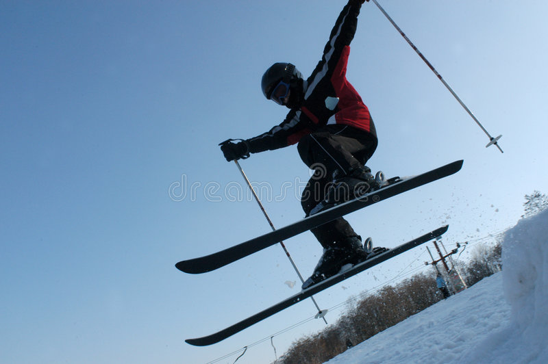 Young boy on ski royalty free stock images