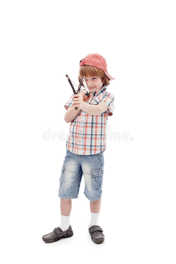 Download Young Boy With Sling Aiming Stock Photo - Image: 25141010