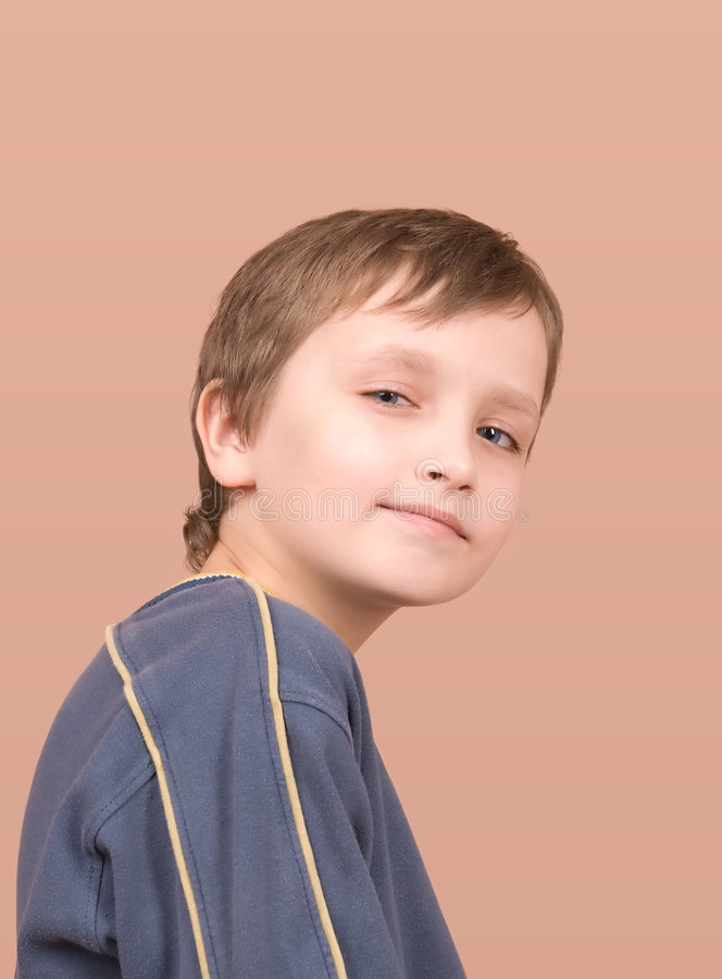 Young boy smiling portrait stock photo