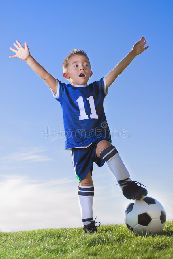 Download Young Boy Soccer Player Celebrating Stock Image - Image of exercising, child: 23537119