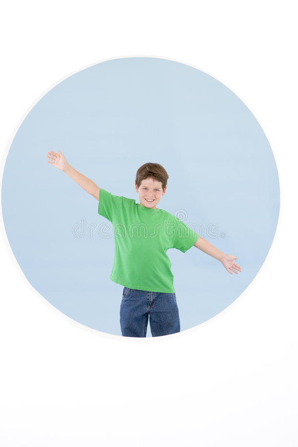 Download Young Boy Standing With Arms Out Smiling Stock Image - Image: 5946079