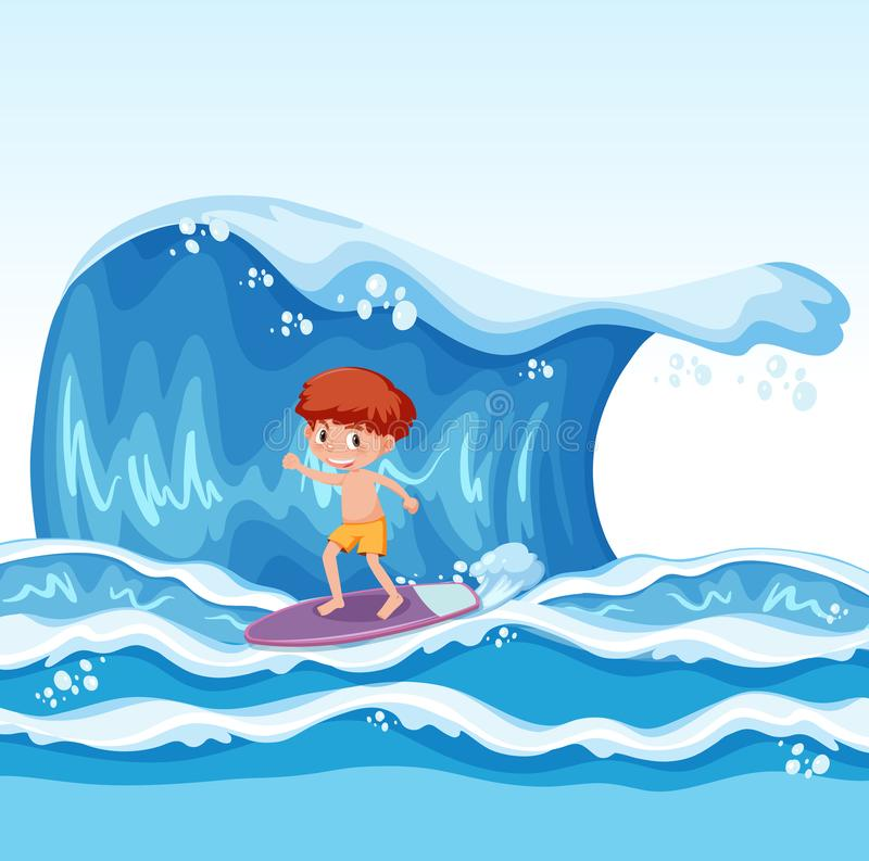Young boy surfing on wave. Illustration royalty free illustration