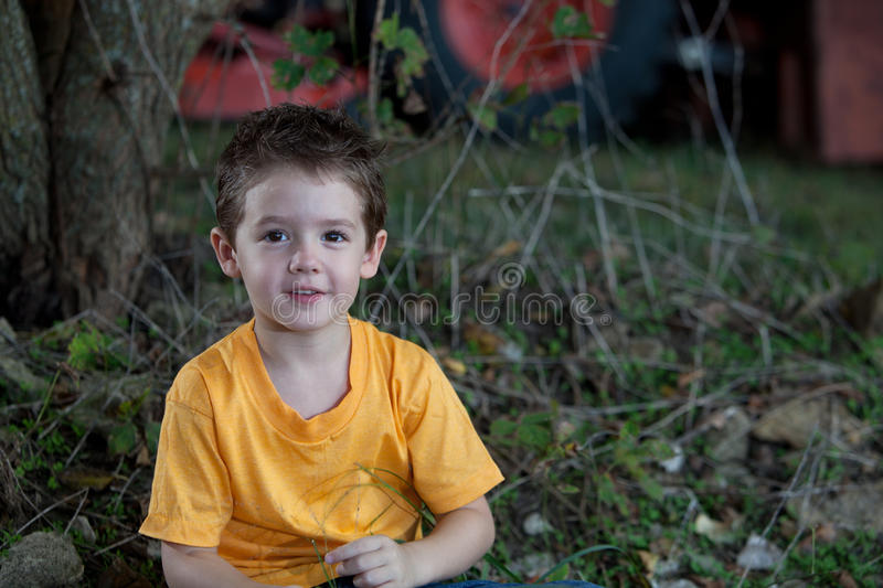 Young Boy with Tractor in Background stock photos