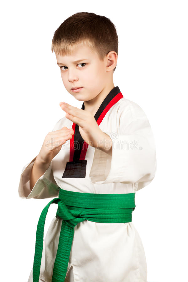 Young boy training karate. Isolated on white background royalty free stock images