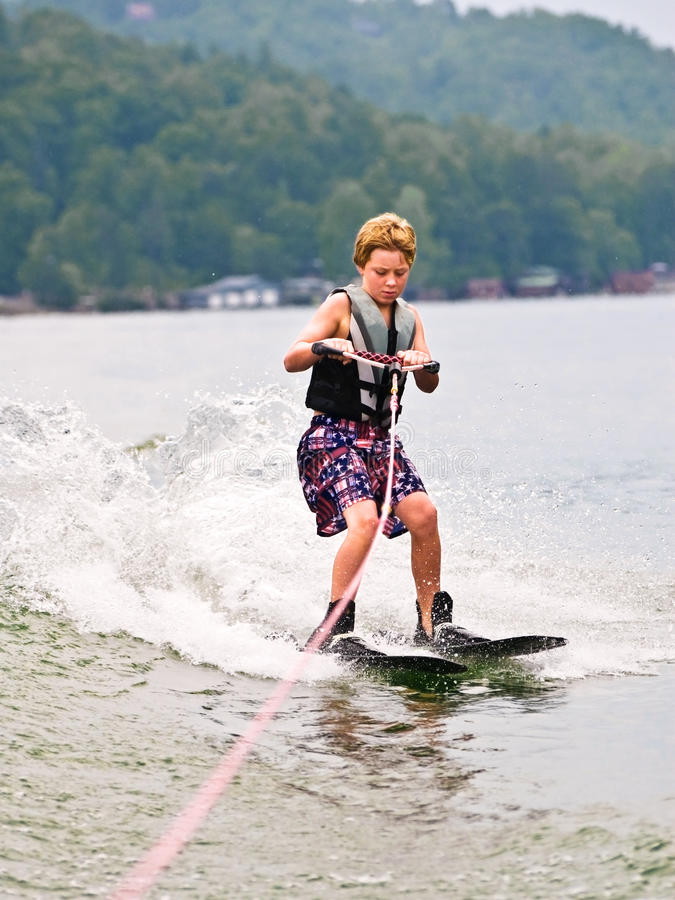 Download Young Boy On Trick Skis/Vertical Stock Images - Image: 10183194