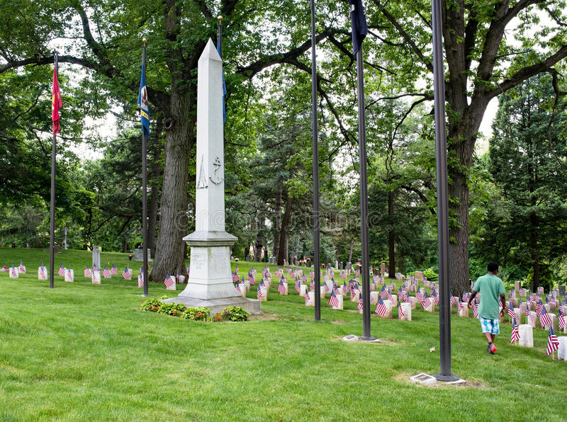 Young Boy Visiting Civil War Monument stock photo