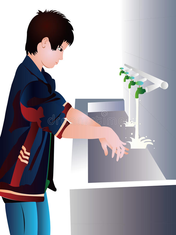 A young boy washing his hands. In water from tap royalty free illustration