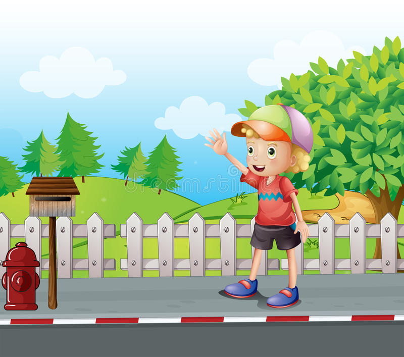 A young boy waving near the mailbox at the road vector illustration