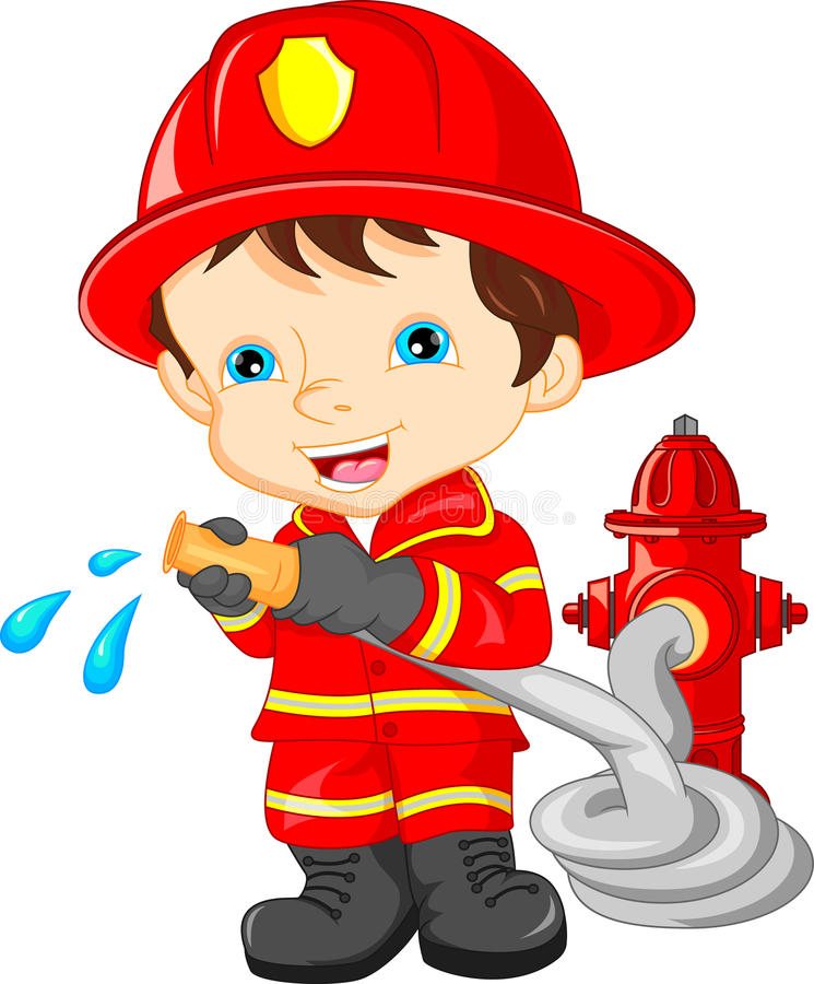 young boy wearing Firefighter cartoon stock illustration