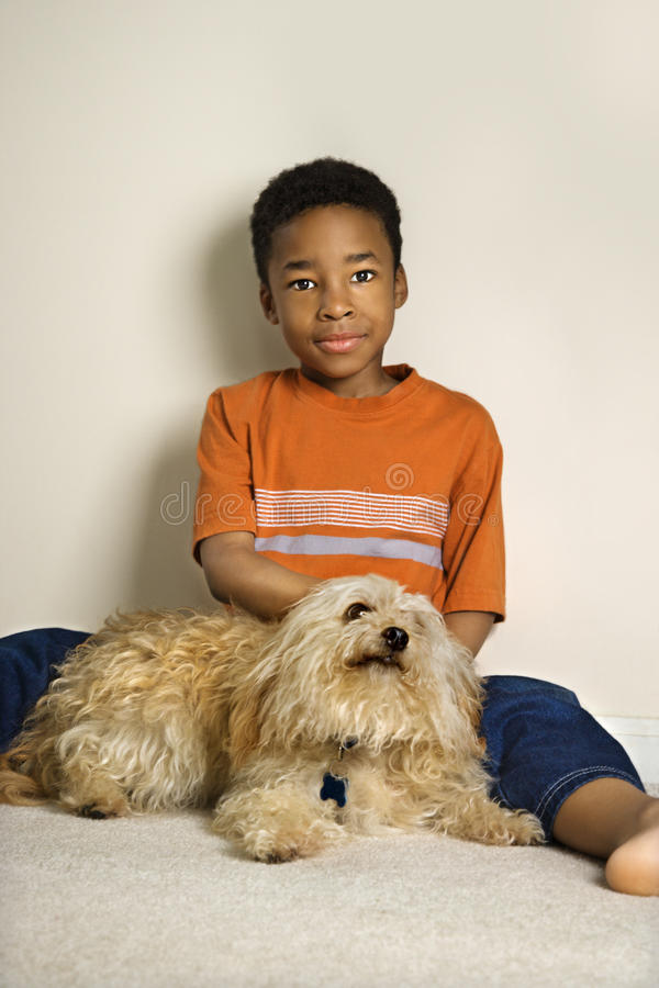 Free Young Boy With Dog Stock Photos - 12753813