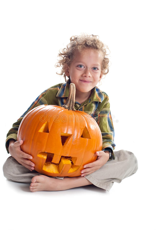 Free Young Boy With Jack-o-lantern Stock Photo - 11515000