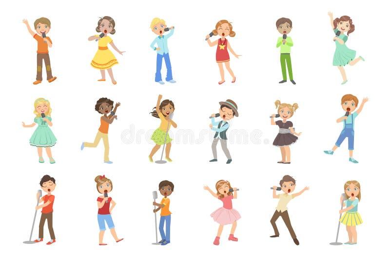 Young Boys en meisjes die in Karaoke zingen stock illustratie