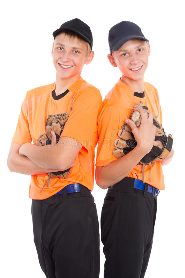 Young boys in the form of a baseball game royalty free stock images