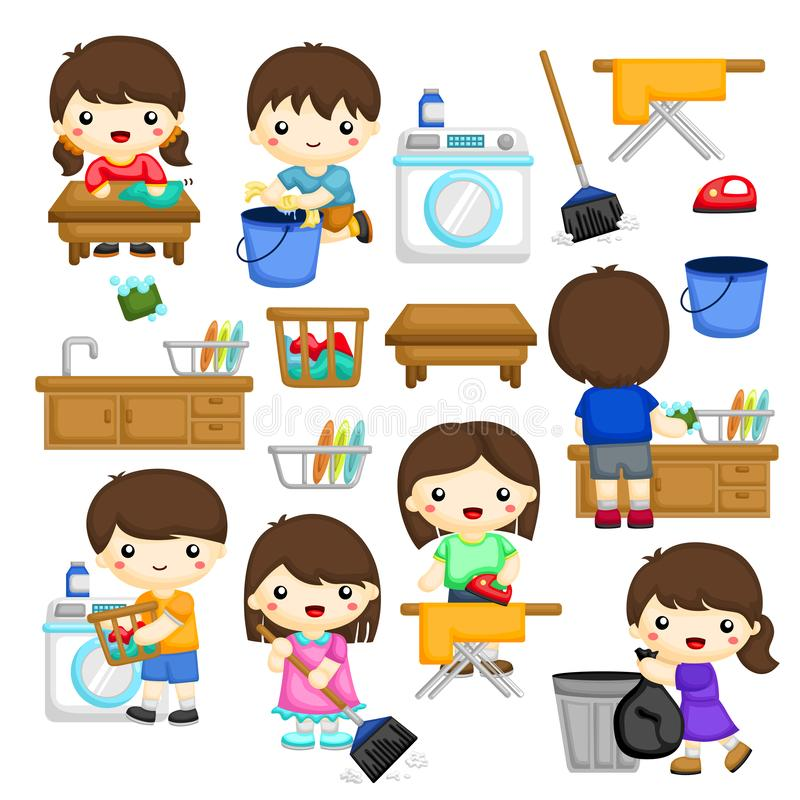 Young Boys and Girls doing some house chores. A Vector Set of young boys and girls doing some house chores royalty free illustration