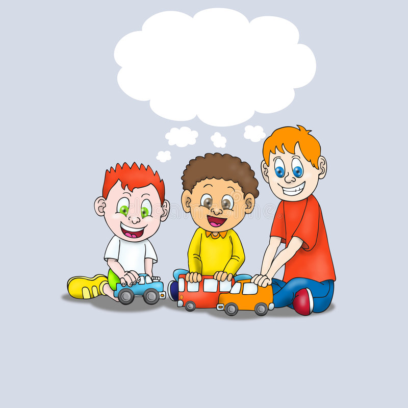 Young boys playing a car toy. Three young boys playing a car toy sitting on livingroom with empty bubble text vector illustration
