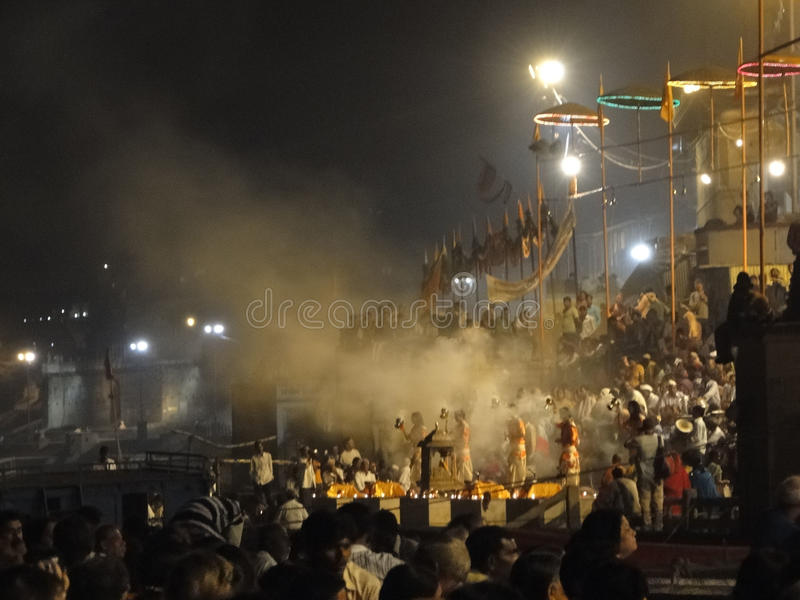 Young Brahmin priests conduct aarti royalty free stock photos