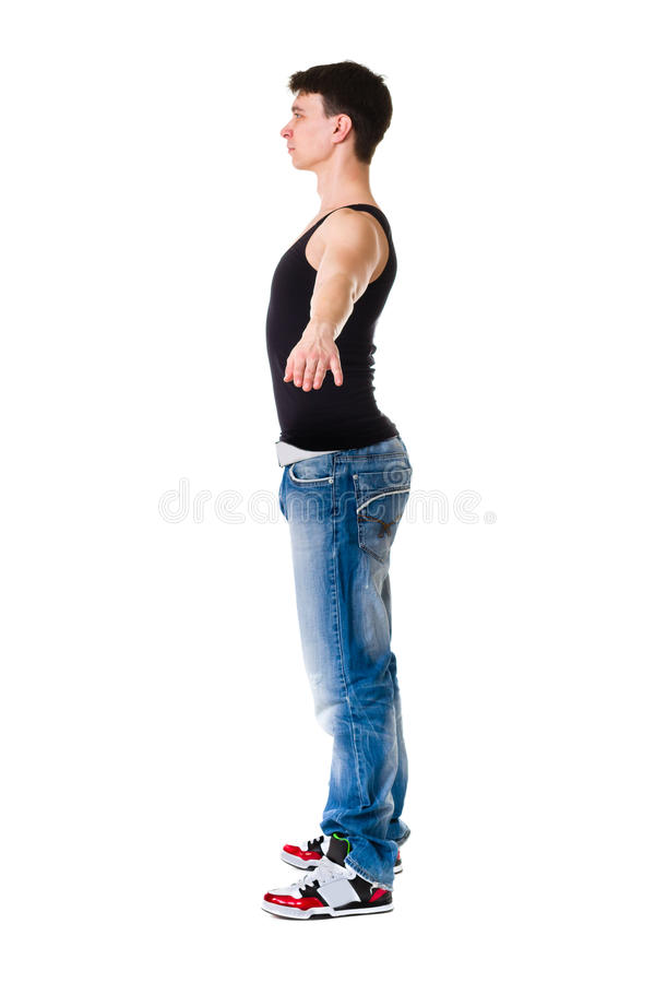 Young break dancer showing his skills on white royalty free stock image