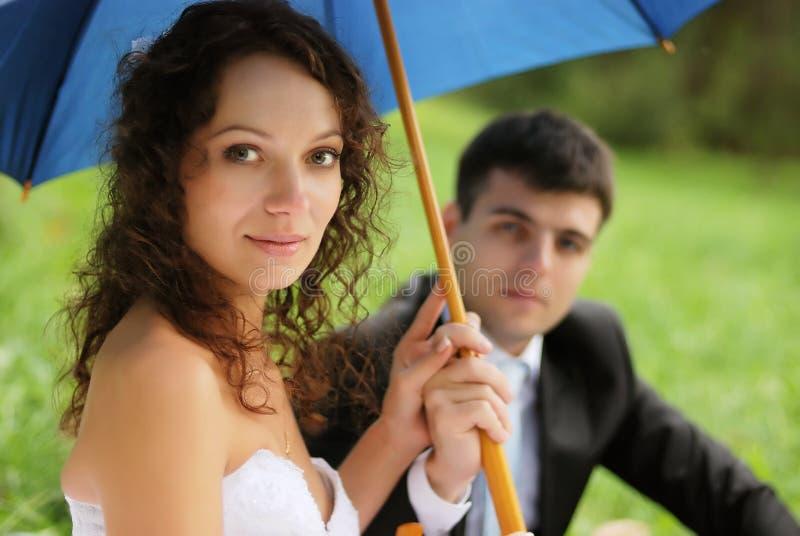 Young bride with bridegroom stock photos