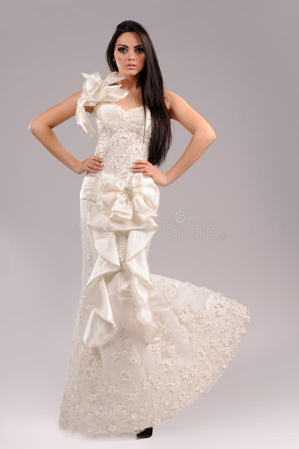 Young bride dressed in elegance wedding dress royalty free stock images