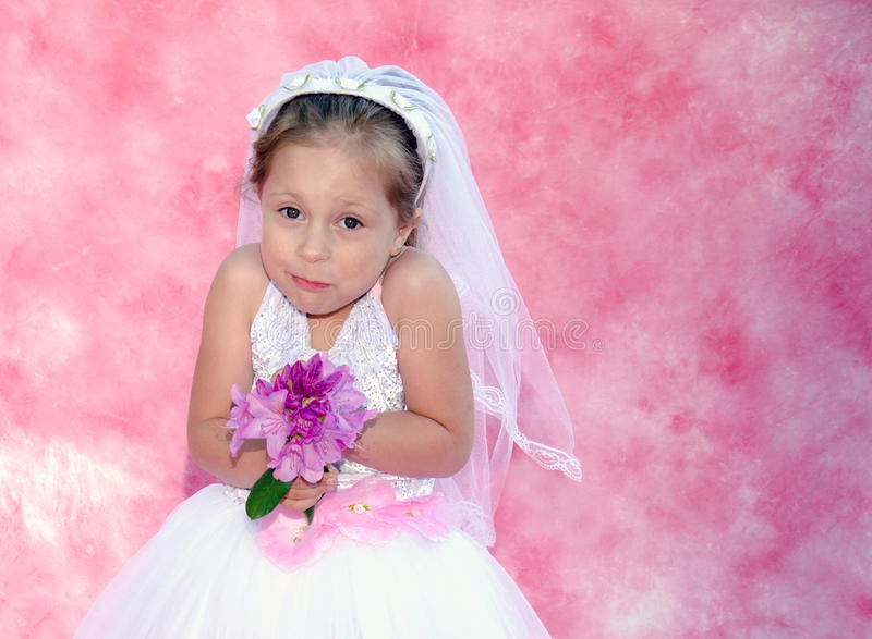 Young bride with a funny expression stock photo