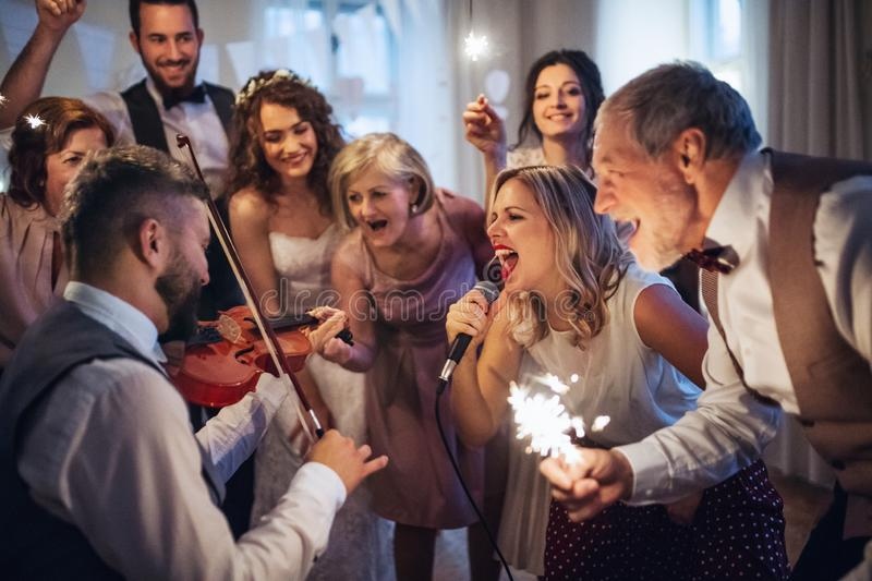 A young bride, groom and other guests dancing and singing on a wedding reception. A young cheerful bride, groom and other guests dancing, singing and playing royalty free stock photography