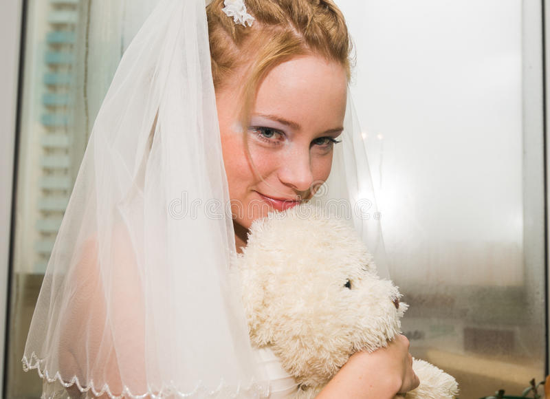 Young bride happy stock images