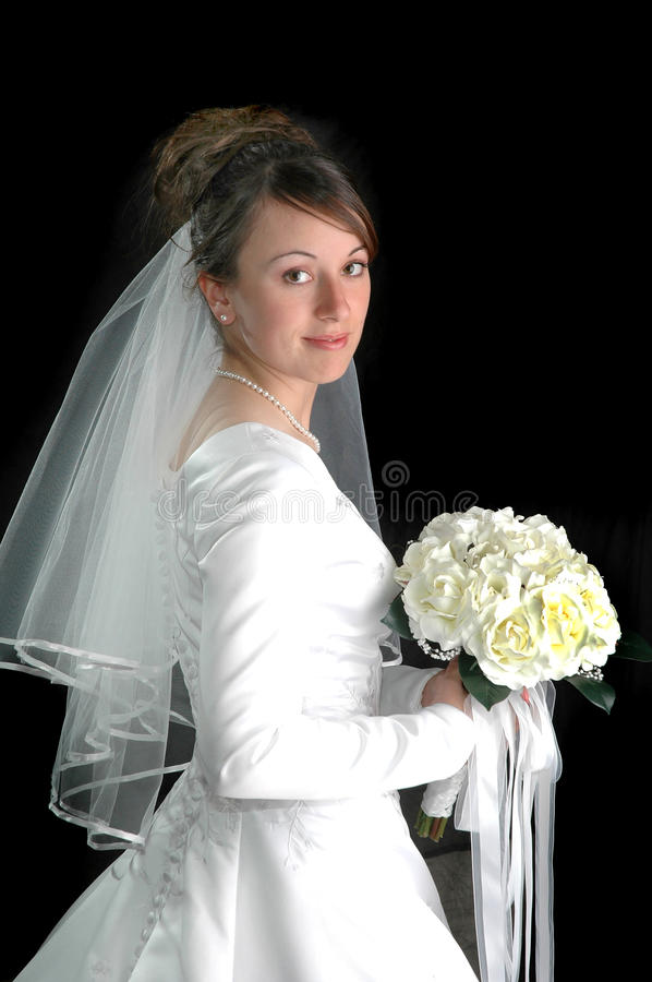 Download Young Bride Portrait On Black Stock Photo - Image: 28641886