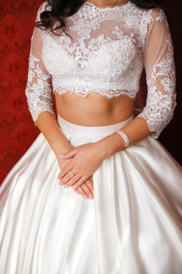 Young Bride In Wedding Dress. Women\'s Hands Stock Photo - Image of ...