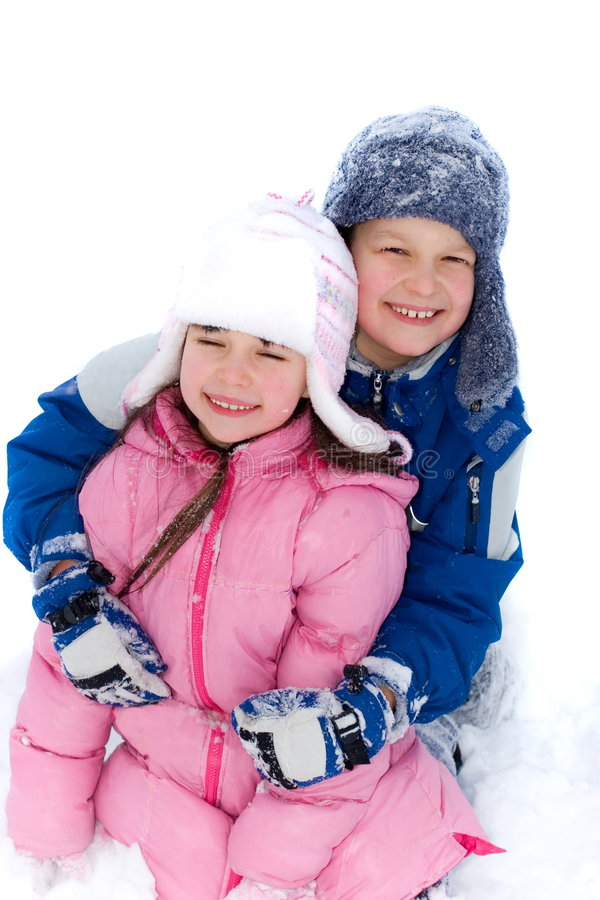 Young Brother And Sister In Snow stock images