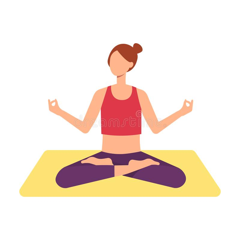 A young brown haired woman or girl is meditating in a lotus position. royalty free illustration
