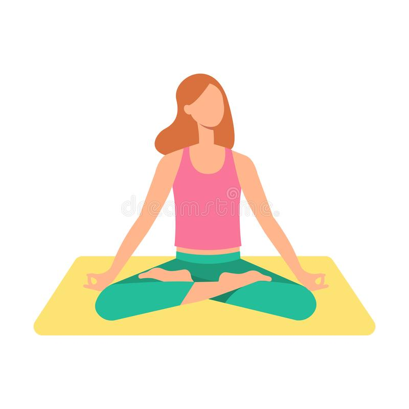 A young brown haired woman or girl sits in a lotus position on a yoga mat and meditates. vector illustration