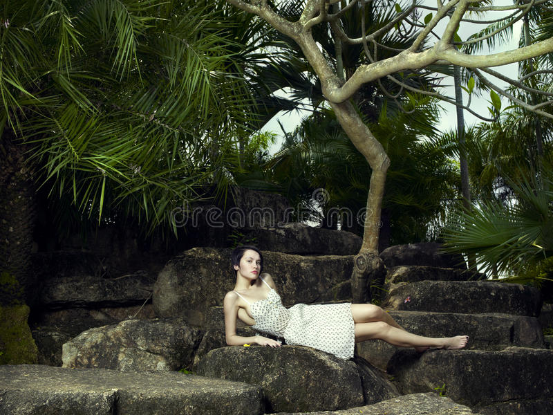 Young brunette beauty in a tropical forest stock photos