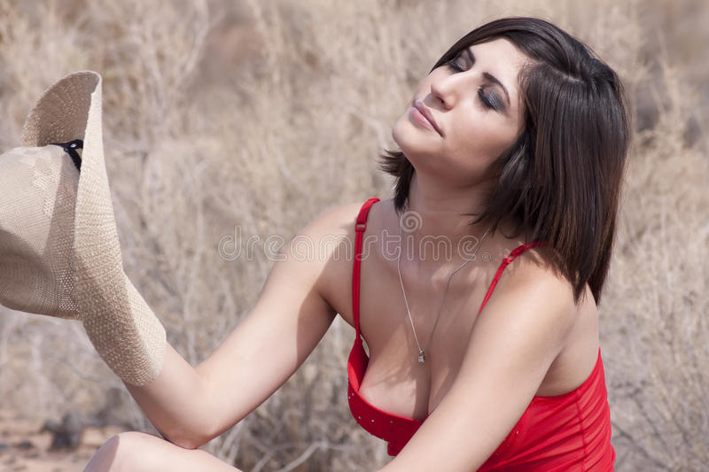 Download Young Brunette Cowgirl In The Arizona Heat Stock Image - Image: 11308681