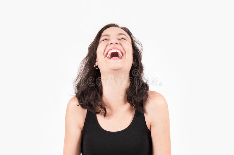 Young Brunette European Woman Laughing royalty free stock image